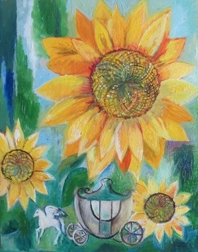 This original fantasy art Sunflower oil painting is 39.5 x 59cm x 5 cms wide. It is on gallery wrapped canvas and painted in high quality archival paint. The tiny world within the Sunflowers inhabited by tiny horses and carriages.