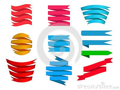 Banner Set of Various colors and Shapes to best used as Design Elements on various Platforms