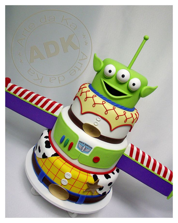 "Toy story cake.  We can help achieve this look at Dallas Foam with cake dummies, cupcake stands and cakeboards. Just use ""2015pinterest"" as the item code and receive 10% off your first order @ www.dallas-foam.com. Like us on Facebook for more discount offers!"