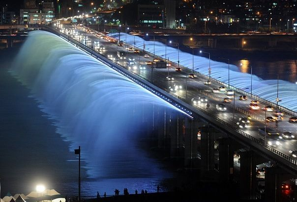 "Are you KIDDING me?!? This is absolutely SPECTACULAR!! I've been staring at it for about five minutes, mesmorized... ""It,"" btw, is the Bampo Bridge in Seoul, South Korea. Wow."