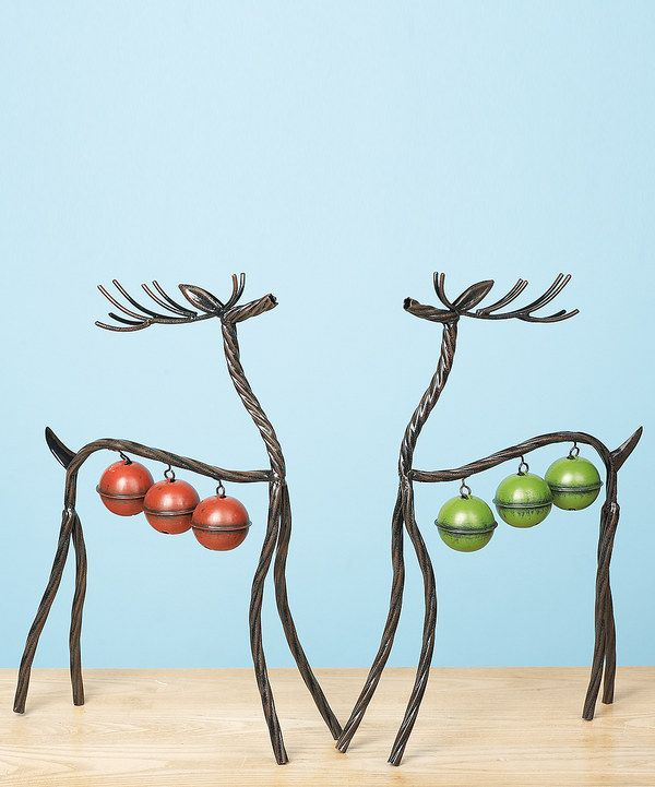 Take a look at this Metal Bell Reindeer Statue Set on zulily today!