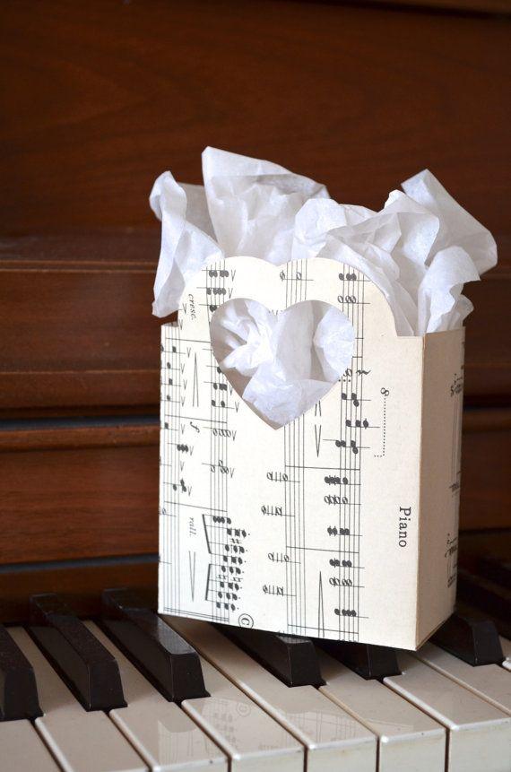 Vintage Music Heart Handled Gift Bags by thePathLessTraveled, $1.00