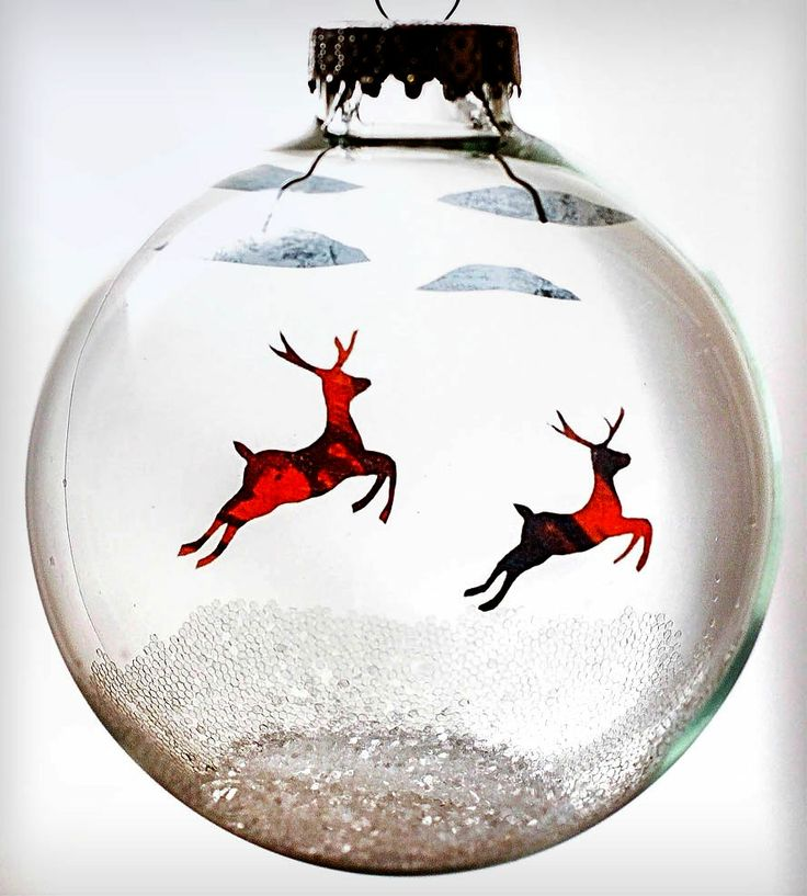Glass Flying Reindeer Holiday Ornament | Ornament