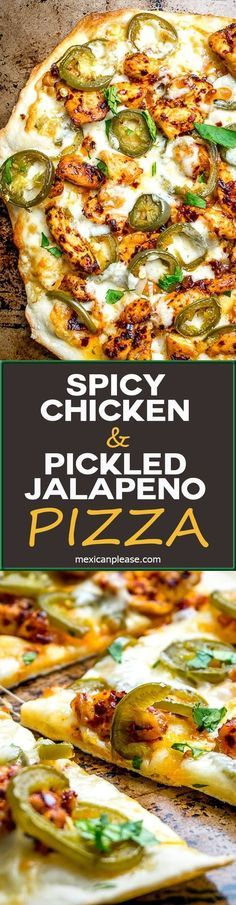 This Spicy Chicken and Pickled Jalapeno Pizza is the perfect example of Mexican cooking ingredients influencing just about everything in my kitchen. A super easy and delicious pizza recipe with no special pizza gear needed! http://mexicanplease.com