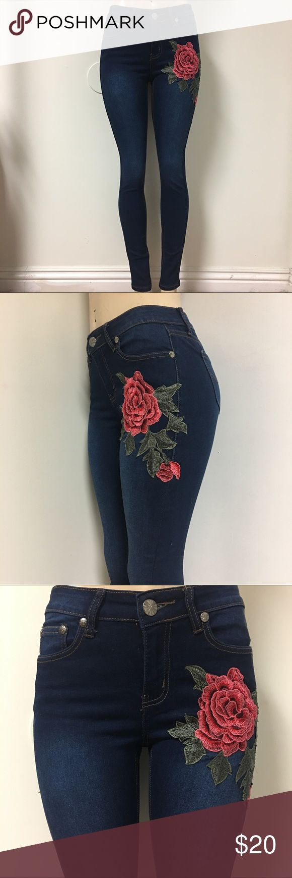 Rose Embroidered Skinny Jeans True to size, has stretch:) Jeans Skinny