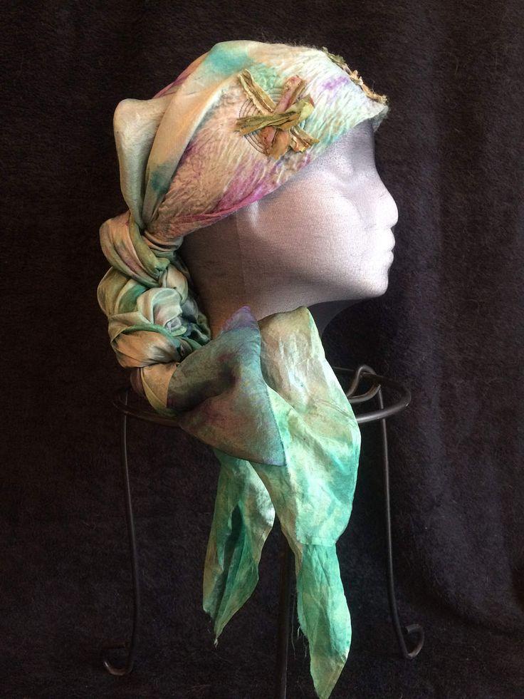 Silk nuno felted head and neck scarf by FeltTheFluff on Etsy