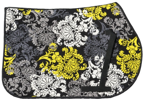 Black and Yellow Damask All Purpose English Saddle Pad Looks like the Vera Bradley print!!