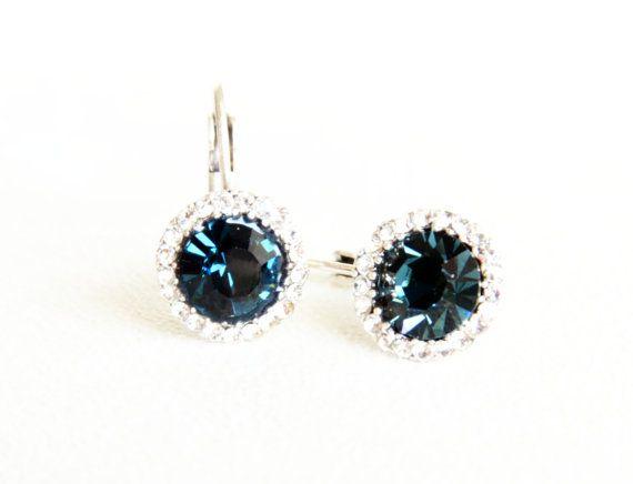 art deco clear crystal swarovski navy blue rhinestone by sestras