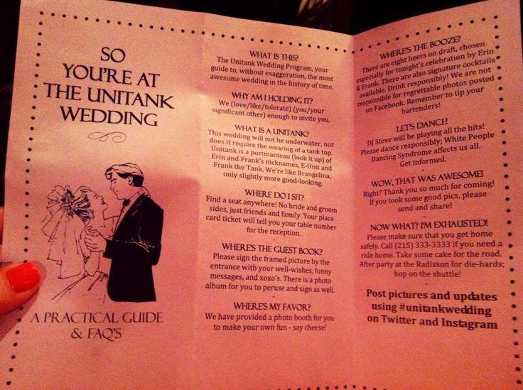 Funny wedding program - Unitank Wedding
