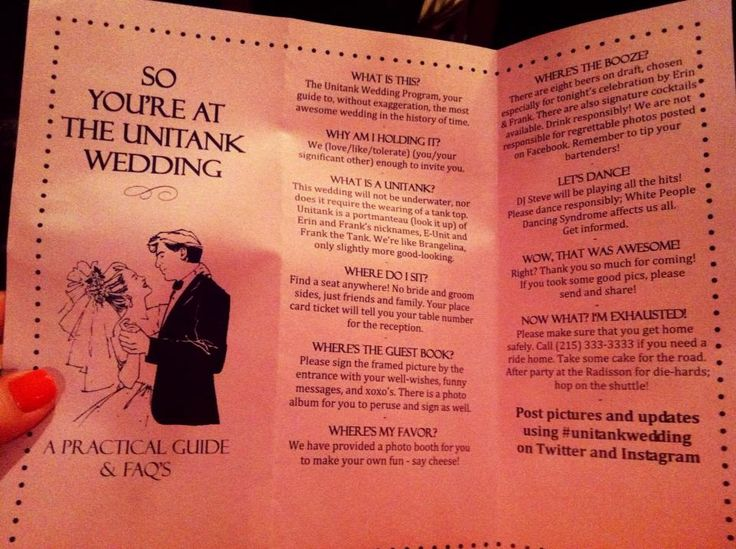 Funny wedding program - Unitank Wedding