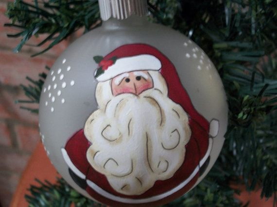 Hand Painted Frosted Glass Santa Ornament by CaneBottomCrafts, $13.99