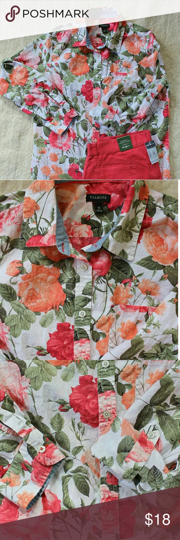 Talbots Sping Roses Blouse Button up blouse with large rose pattern in coral and pink. Has long sleeves with button cuffs. Also has button tab which allows you to roll them up and fasten at elbow. Small pocket on left chest. 100% cotton. Talbots Tops Blouses