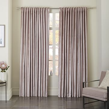 Luster Velvet Curtain - Dusty Blush #westelm