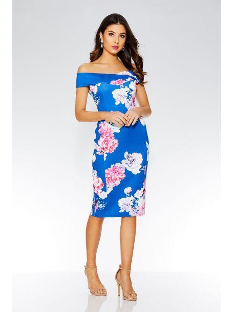 56a4977c809 QUIZ - Royal Blue Floral Print Bardot Midi Dress - 2018   - My Print ...