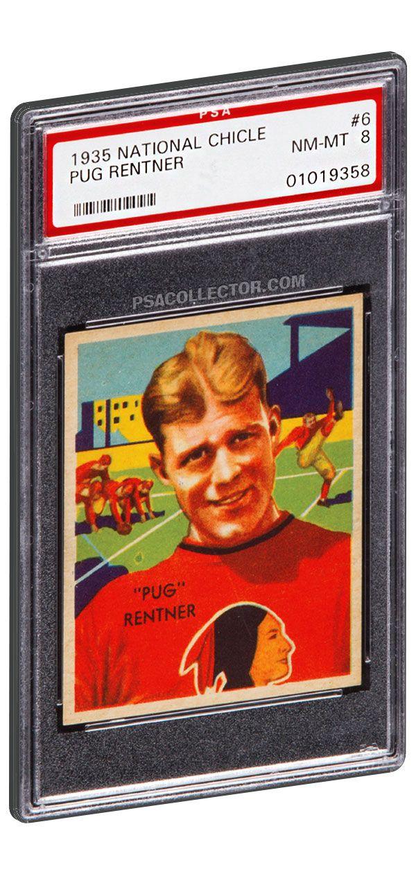 1935 National Chicle Football Pug Rentner 6 PSA 8