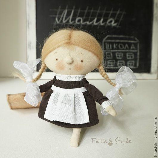 Человечки ручной работы. Ярмарка Мастеров - ручная работа. Купить Девочка и Портфель Школьница Кукла текстильная. Handmade. Кукла малышка