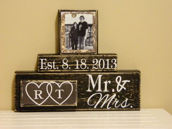 Personalized wedding gift decoration black shabby chic personalized photo wooden blocks Mr and Mrs his and hers shower anniversary gift on Etsy, $27.00