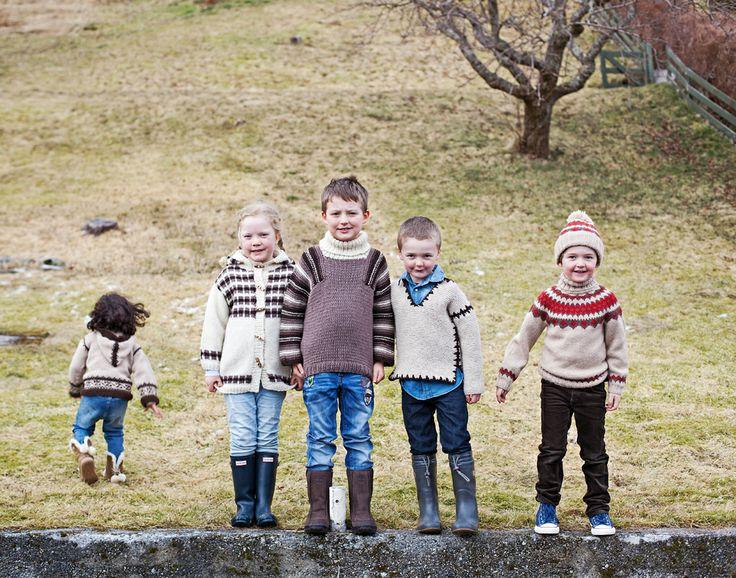 """Norwegian knits from the 70/80s design collection """"Barnestrikk fra Mørkeloftet"""". Fun designs from Sandnes Garn."""
