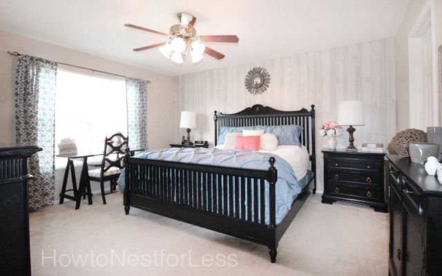 Master Bedroom Makeover Master bedroom makeover complete with white washed paneled accent wall, new bedding, dry erase poster boards, d...