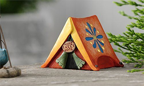 Tent with Flower Accent and Home Sweet Home Sign This Fairy Garden Accessories is so sweet. Gnomes and Fairies just love to go camping.