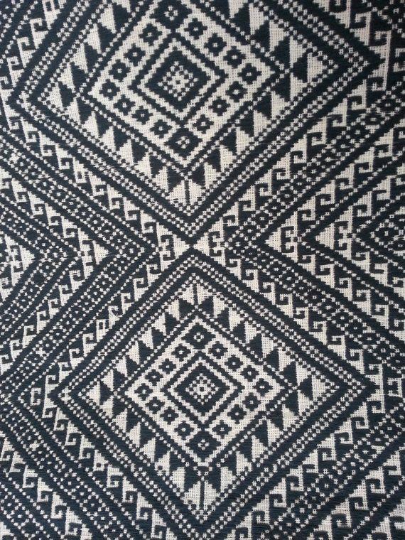 Thai handwoven Fabric, Tribal Fabric, Natural Cotton Fabric, Ethnic fabric - black white fabric, 5.69 yard, ready to ship