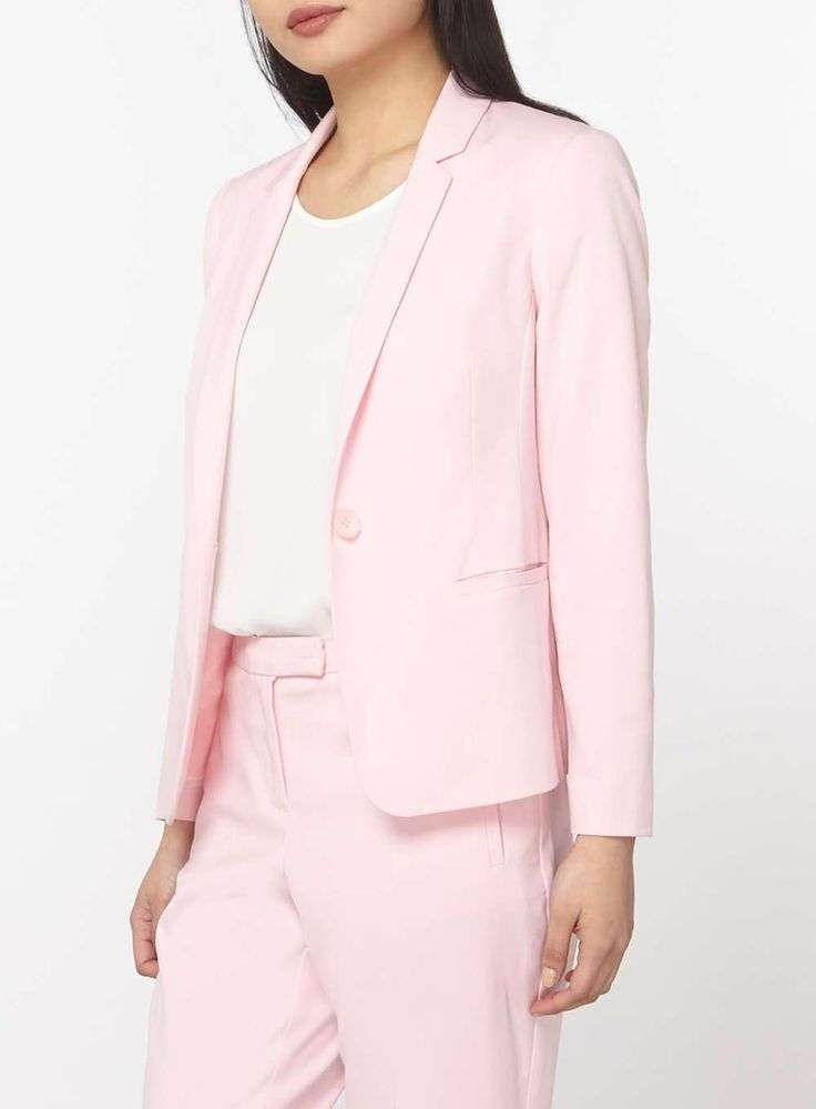 Womens Petite Pink Suit Jacket- Pink