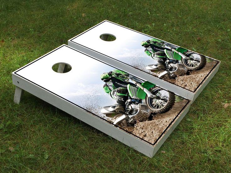 Kawasaki Dirt bike racing cornhole boards
