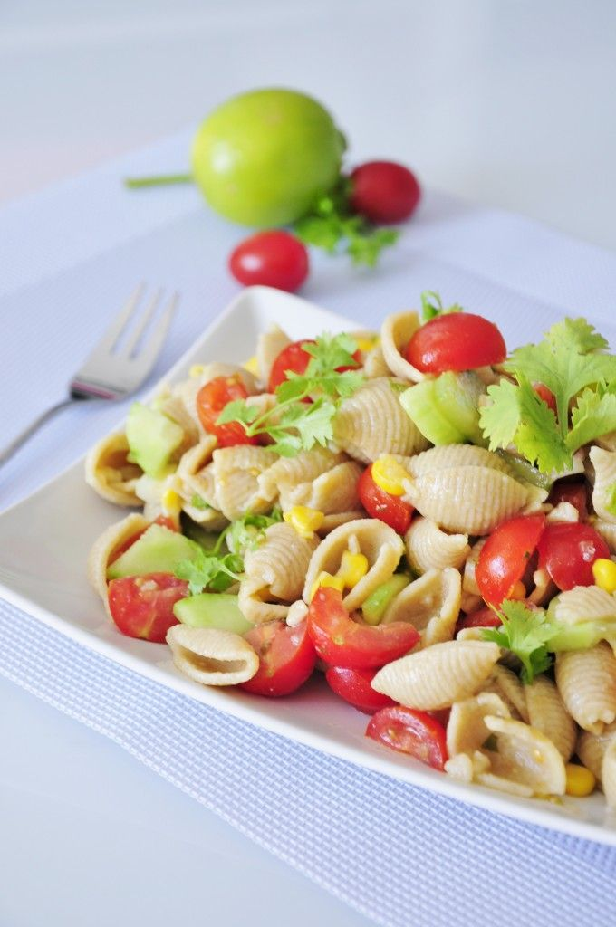 Healthy Whole Wheat Pasta Salad Recipe with Cilantro and fresh Lime Juice - My kids go crazy for this! #vegan #recipe
