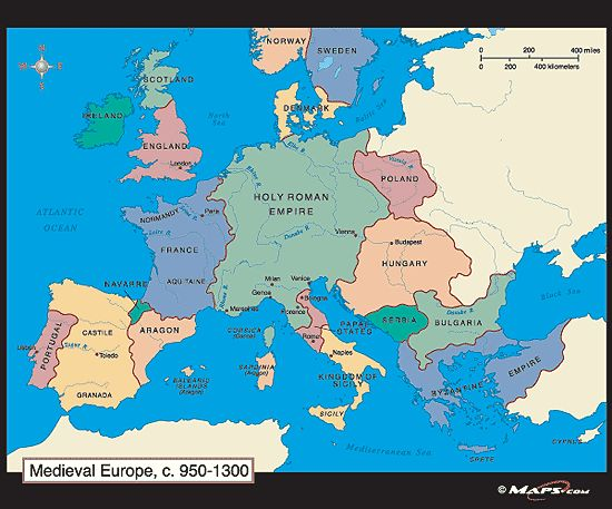 Medieval Europe Map c 950 1300 CE by from World s Larg
