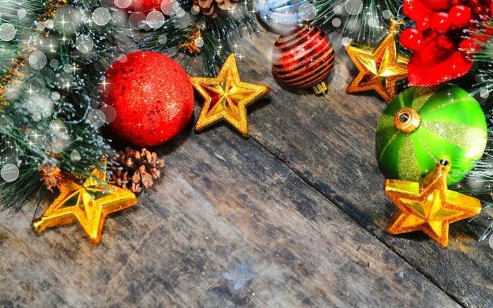 Download wallpapers 4k, Xmas decoration, stars, red balls, Christmas, wooden background, Merry Christmas, colorful decorations, Happy New year