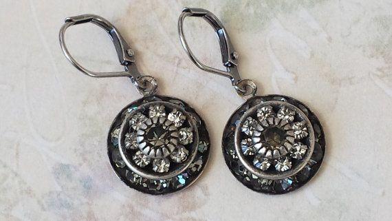 Crystal Rhinestone Earrings Black Diamond Rhinestone