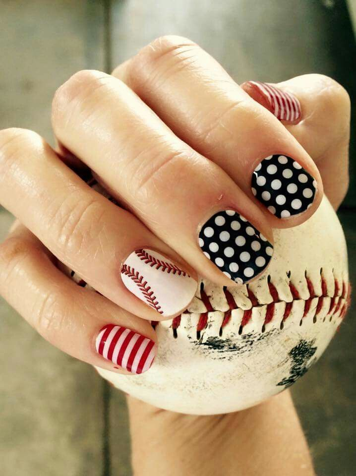 Curve ball, black and white polka, white stripe over cardinal lacquer  cassiekelly.jamberrynails.net  Facebook page  Cassie's Nail Art  Jamberry Nails baseball