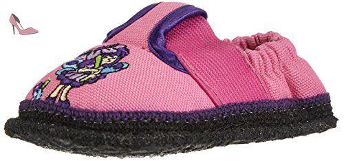 Pink flower-damenpantoffel de pantoffelDIVA noir merinofilz broderie, unisexe, taille 38–42