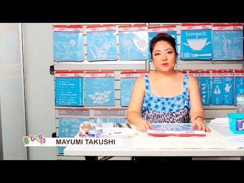 PASSO A PASSO PINTURA COM STENCIL EM PANO DE COPA - MAYUMI TAKUSHI - YouTube