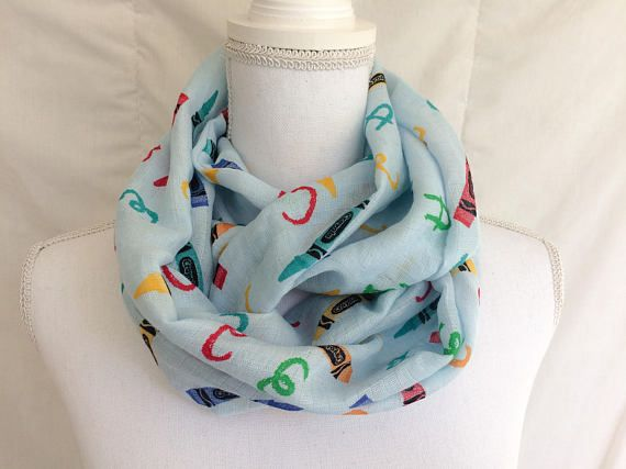 A-B-C, easy as 1-2-3, well now looking fashionable can be as easy as A-B-C with this Crayola inspired double gauze infinity scarf! This makes an excellent gift for teachers as well as something adorable for yourself or a friend. This circle scarf is handmade from lightweight 100% cotton
