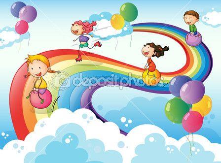 Un grupo de niños jugando en el cielo con un arco iris — Ilustración de stock #38862069