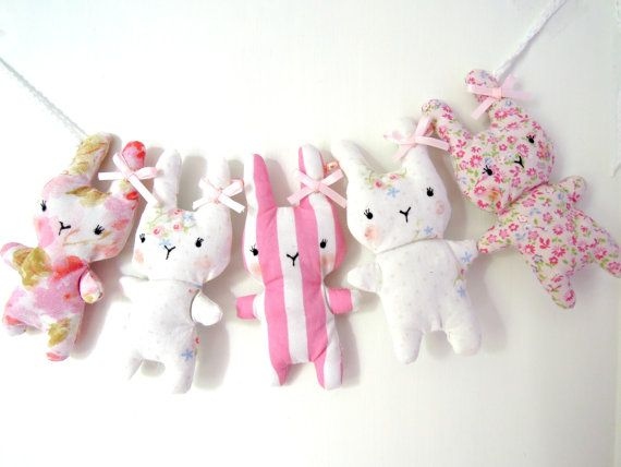 Bitsy Bunny Fabric Garland Vintage Florals and by RubyRedcrafts, $18.00