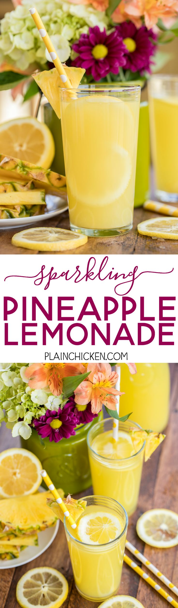#Sparkling Pineapple Lemonade - our signature summer cocktail! Can make with or without alcohol. Lemonade mix, vodka, pineapple juice and sprite. SO easy to make! Super refreshing cocktail for all your summer parties.