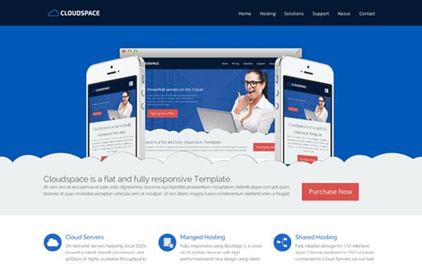Check out Cloud Space. Responsive Bootstrap Website Theme  @bootstrapstage