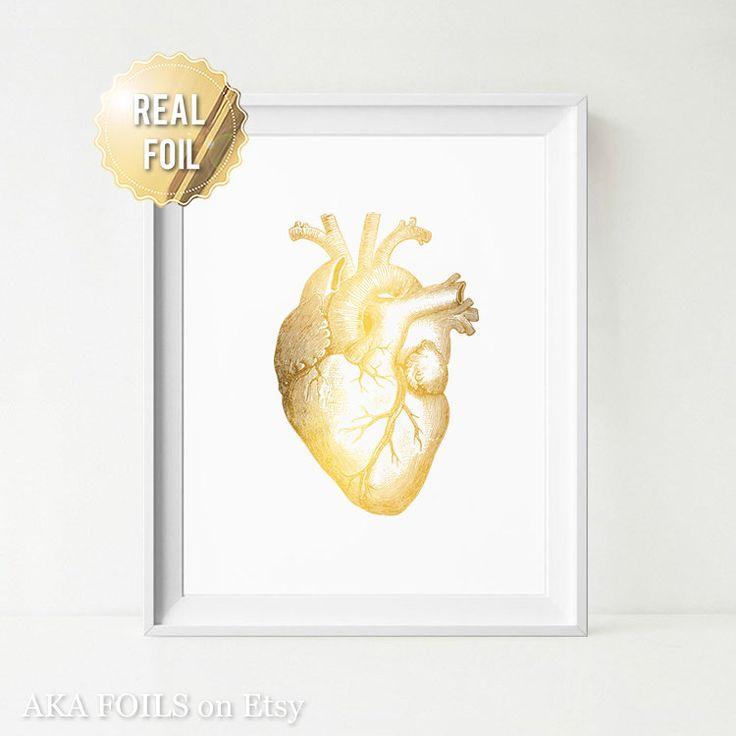 Corazón humano Anatomía arte imprimir hoja de oro Real Print