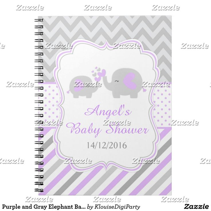 Purple and Gray Elephant Baby Shower Planner Spiral Notebook