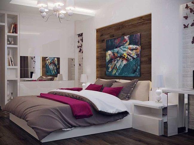 11-dressing alb cu fronturi lucioase si insertie oglinda orizontala decor dormitor