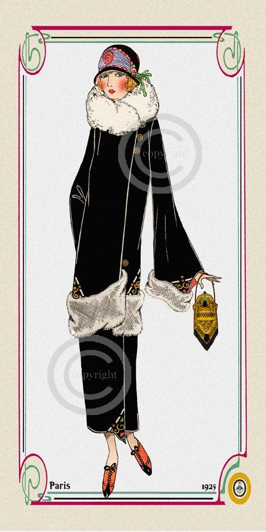 Art Deco Paris Fashion Flapper Print, Girl Dressed velvet coat, whimsical purse, Designer hat, Giclee Fine Art Print, 10x20, 1923