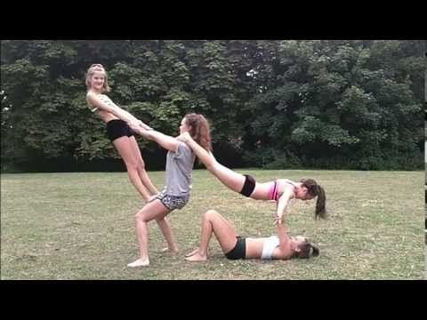 2 to 4 person acro stunts