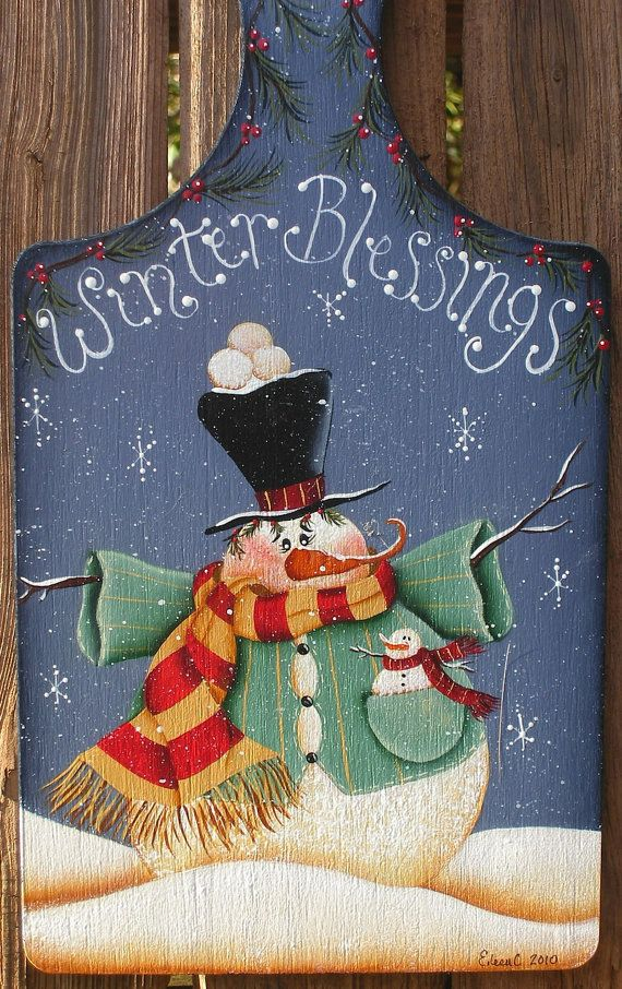 Hand Painted Snowman Wood Plaque old cutting board, great decoration for the kitchen