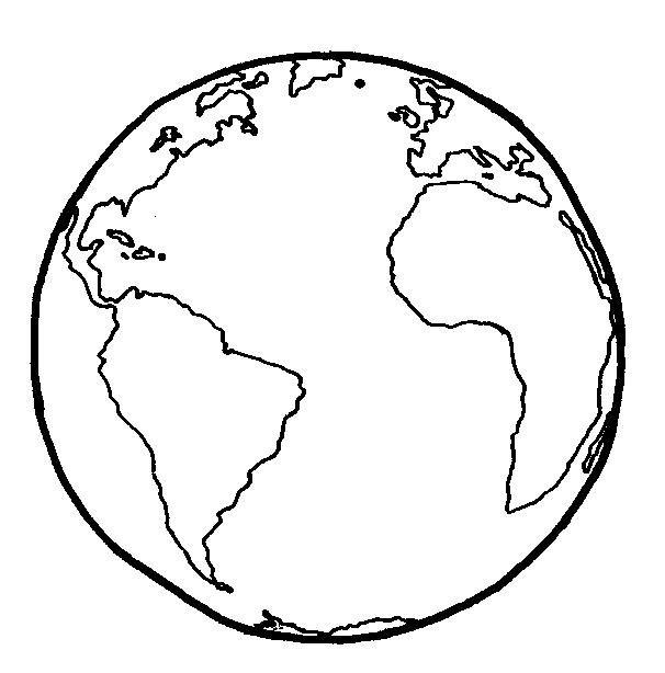 Globo terráqueo: Dibujo simple sin coordenadas. | Educando Juntos