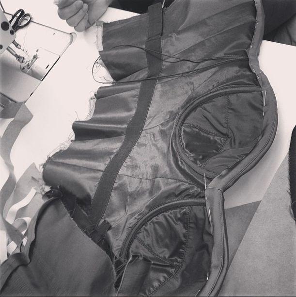Inside construction at the #zacposen #atelier #behindthescenes #madeinusa #corset