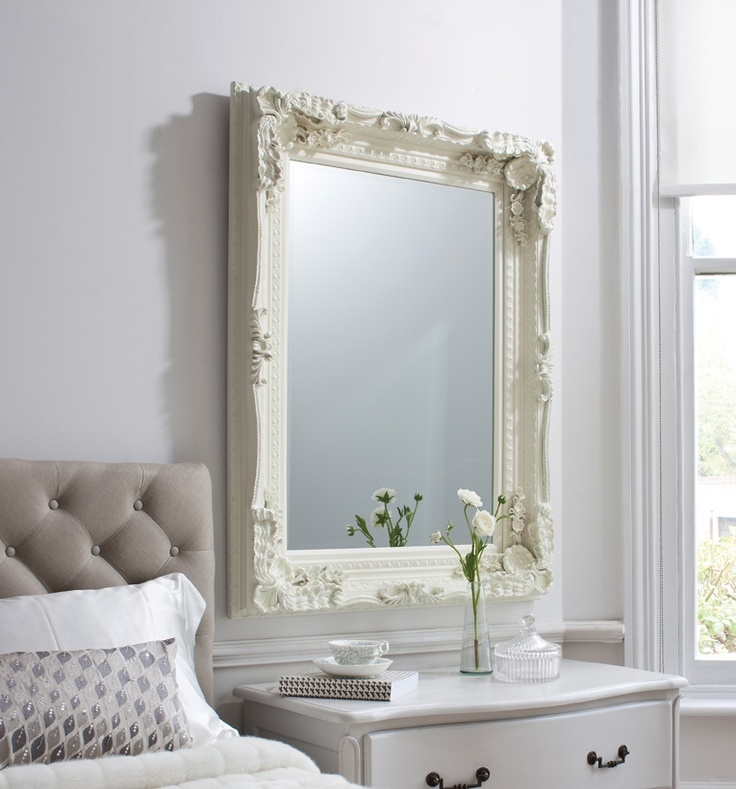 Elegant Cream Mirror, In Bedroom.