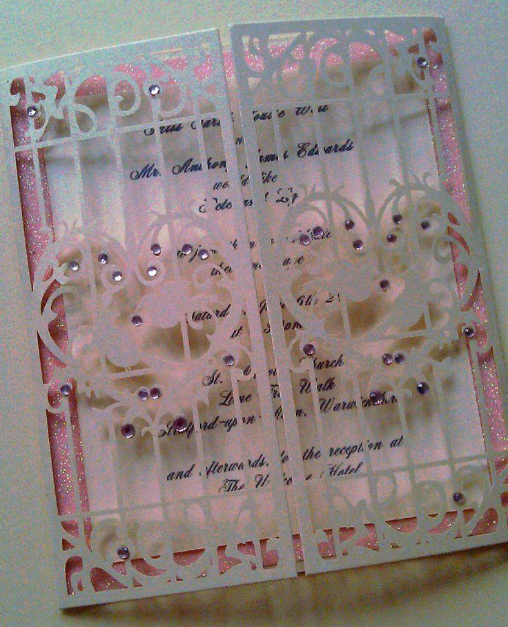 tie the knot wedding invitations etsy%0A Love Birds Birdcage Laser Cut Wedding Invitation   Polly   Pretty In Pink by  CraftyDesignerme