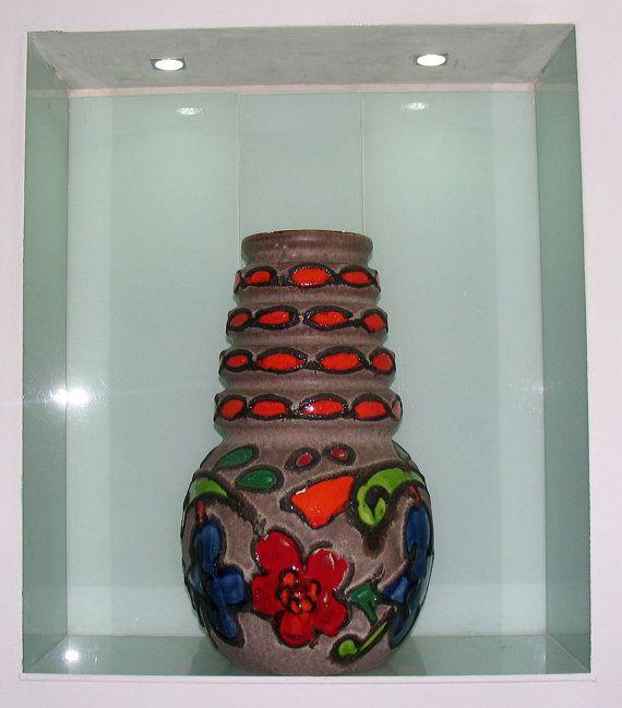 Orange Red Blue Green Scheurich Vase 269-22 West by Vintage4Moms